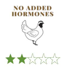 No hormones added/No hormones administered (USDA)