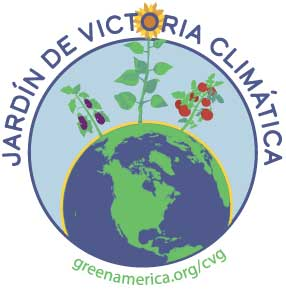 Climate victory gardening logo in Spanish