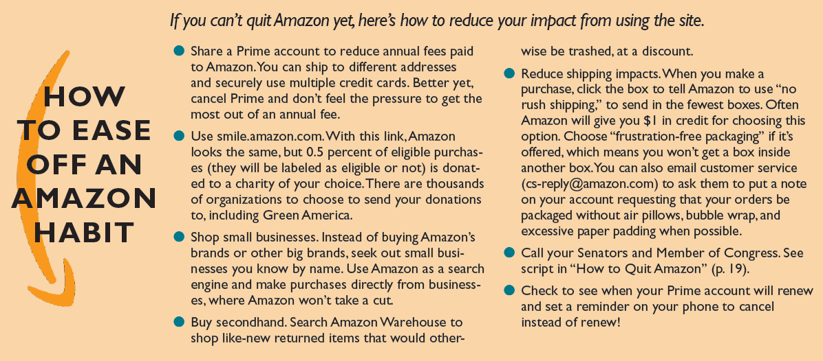 If you can't quit Amazon yet, here's how to reduce your impact from using the site.