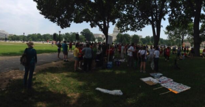 Protesters gathered on the lawn of the Capitol this July in opposition of the proposed facility