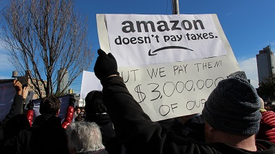 photo of Amazon protester in New York City