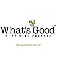 What's Good Logo features a green butterfly and a tag line that says: Shop With Purpose and a url: shopwhatsgood.com