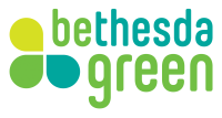"The Bethesda Green logo has 3 flower petals next to the words ""Bethesda Green"" with the letters ""be"" and ""green"" highlighted in a green color as if to read ""Be Green"""