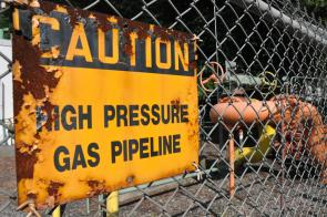 Caution: High Pressure Gas Pipeline