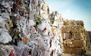 bales of paper and cardboard for recycling