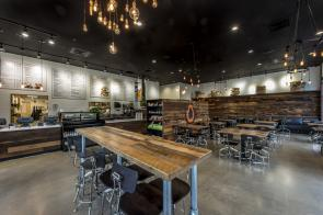 Pioneer Millworks Reclaimed Mixed Hardwoods, Setter's Plank Oak Paneling and Tables