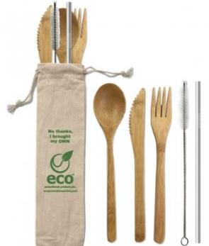 Reusable utensil set with reusable stainless steel straw