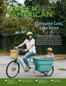 Consume less cover, mother biking on street with child in the back