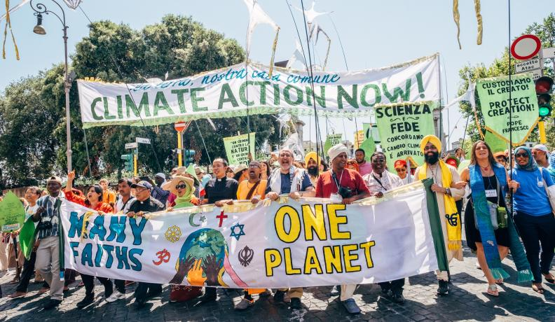 GreenFaith marches for climate in Rome, Italy.