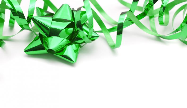 Image: bright green gift ribbon. Sustainable products.