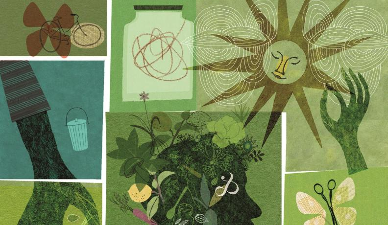 illustration with person with plants representing the hair, the image looks like a collage
