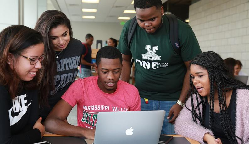 Mississippi Valley State University students gather around in a study room, February 2018.
