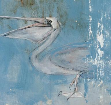 Painting of a pelican done with AFM paints