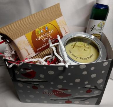 custom gift pack of holiday-themed soap, body butter, and body oil from 4Elements Bath