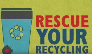 rescue your recycling written on a green background