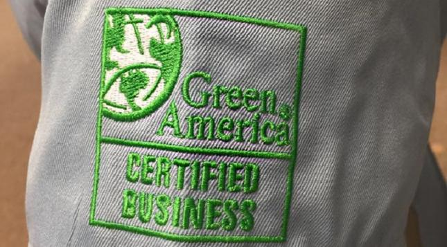 """Green America Certified Business"" seal on sleeve"