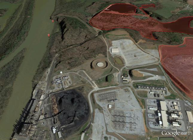 Duke Energy coal ash pits; areas in red have no lining, potentially allowing the release of toxic chemicals.