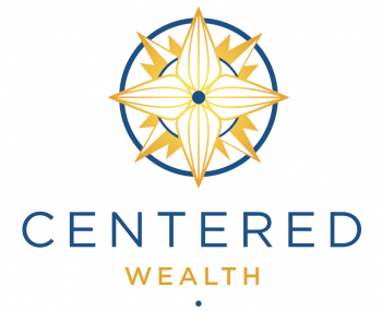 Centered Wealth's Logo featuring a blue circle surrounding a gold compass around a central blue dot.