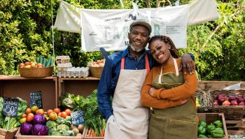 Black couple at farmer market