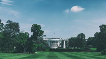 white house lawn and surrounding trees